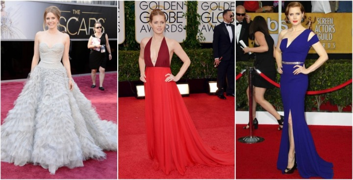 From left: Amy Adams in Oscar de la Renta at the 2013 Oscars, Valentino at the 2014 Golden Globes, and Antonio Berardi at the 2014 SAG Awards