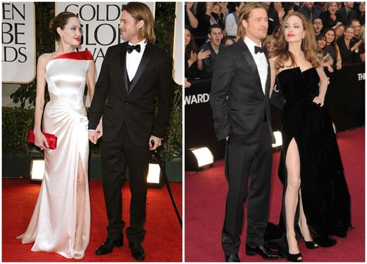 From left: Brad and Angelina sharing a moment at the 2012 Golden Globes, the duo in black tie for the 2012 Oscars
