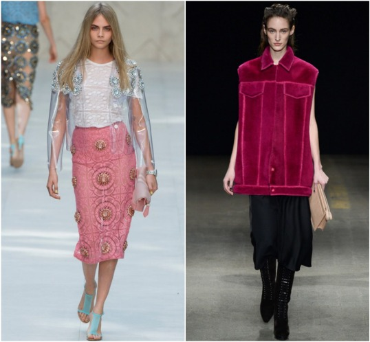 From left: Cara  Delevigne in BUrberry Prorsum S/S '14, model in 3.1 Phillip Lim F/W '14