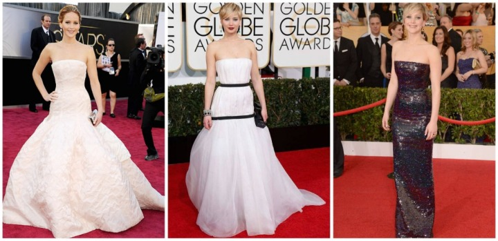 From left: Jennifer Lawrence at the 2013 Oscars, 2014 Golden Globes, and the 2014 SAG Awards