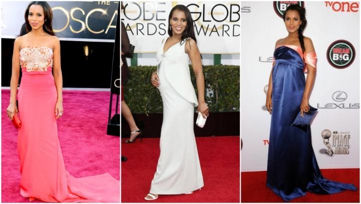 From left: Kerry Washington in Miu Miu at the 2013 Oscars, Balenciaga at the 2014 Golden Globes, and Thakoon at the 2014 NAACP Image Awards