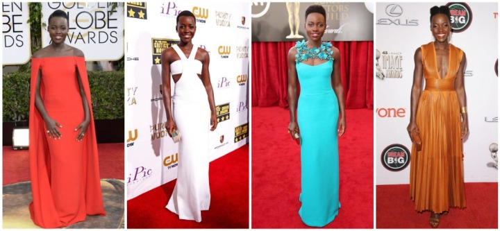 From left: Lupita Nyong'o in Ralph Lauren at the 2014 Golden Globes, Calvin Klein at the 2014 Critic's Choice Awards, Gucci at the 2014 SAG Awards, and Givenchy at the 2014 NAACP Image Awards