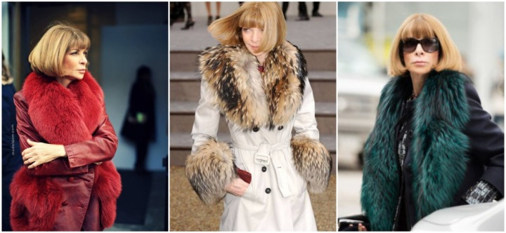Vogue editor in chief Anna Wintour and her various furs  over the years