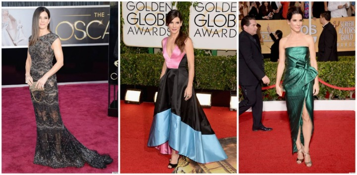 From Left: Sandra Bullock in Elie Saab at the 2013 Oscars, Prabal Gurung at the 2014 Golden Globes, and Lanvin at the 2014 SAG Awards