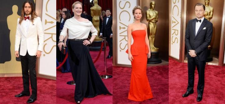 From left:  Jared Leto, Meryl Streep, Jennifer Lawrence, Leonardo DiCaprio