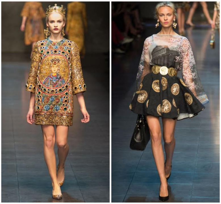From left: Dolce and Gabbana F/W 2014, Dolce and Gabbana S/S 2014